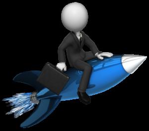 Yritttäjä ratsastaa raketilla